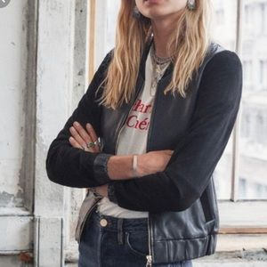 Sezane Buddy Teddy Black Leather Jacket 34 XS